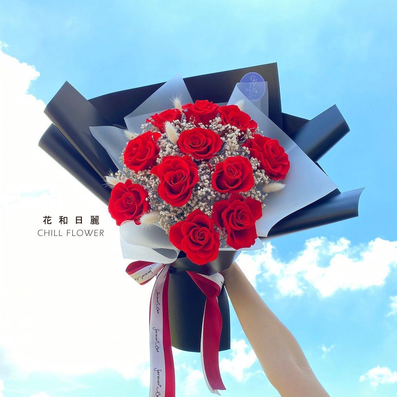 浪漫超大玫瑰花束|小港永生花